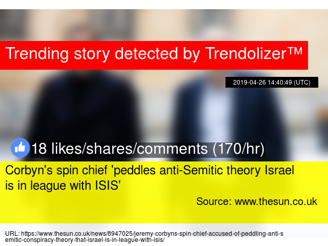 ce94c452abc Corbyn's spin chief 'peddles anti-Semitic theory Israel is in league with  ISIS' - Stats